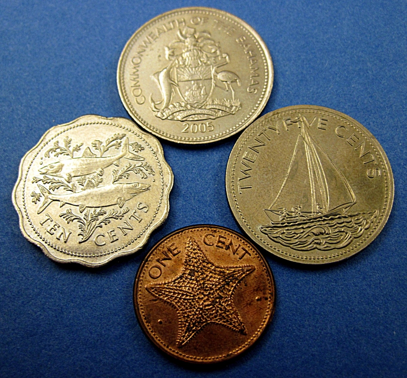 Bahamian nautical coin art.