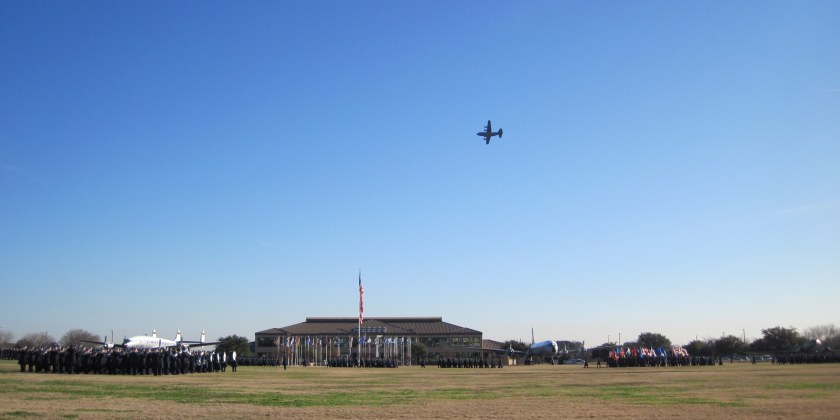A flyby to honor the graduating airmen.