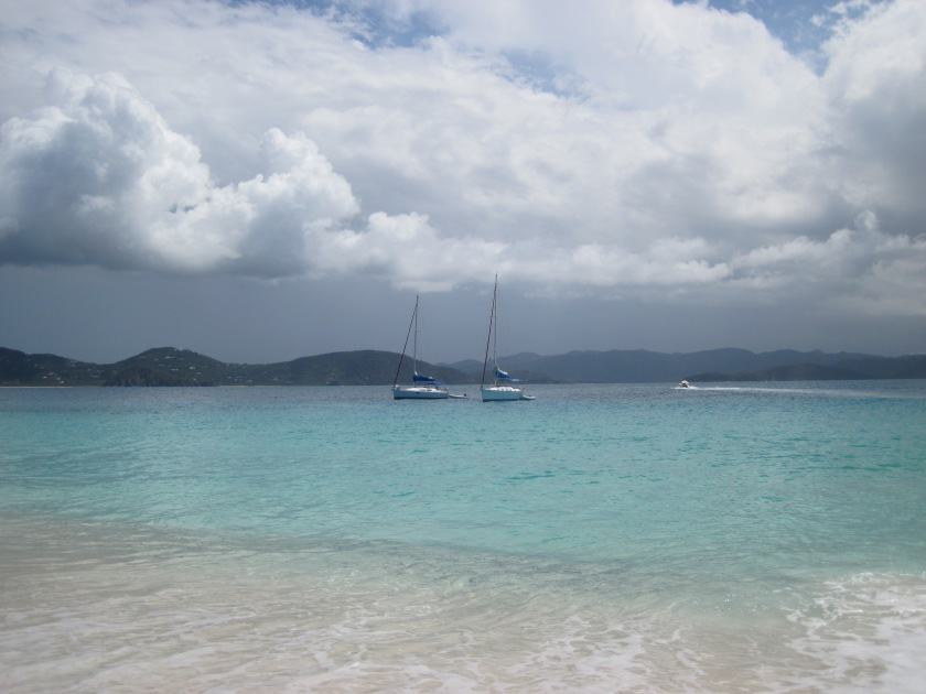 Tan-a-na and Jim's Dream anchored off Sandy Cay.