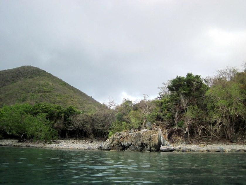 Rugged beach at Great Lameshur Bay.