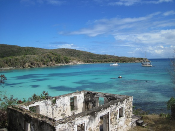 View from the Lameshur Trail, overlooking the plantation ruin and Little Lameshur Bay.