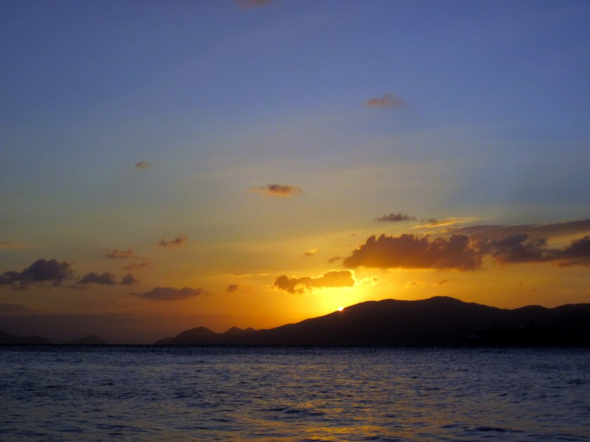 Sunset behind Tortola - viewed from Cooper Island