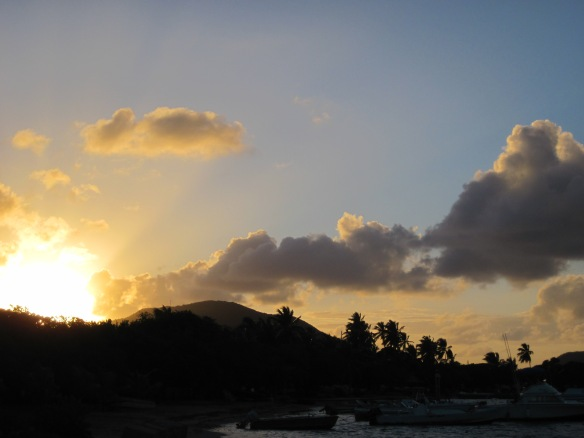 Sunset over Tortola - from Trellis Bay.